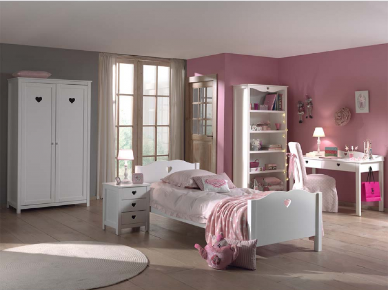 VIPACK AMORY LIT ADULTE + ARMOIRE 2P + CHEVET