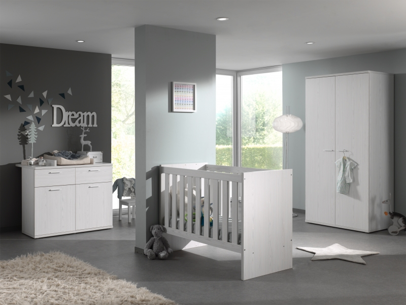 CHAMBRE HELGA MOONLIGHT ARMOIRE 3 P + COMMODE BEBE + LIT EVOLUTIF