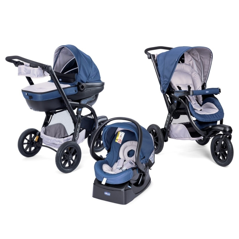 Poussette trio activ 3 chicco blue passion