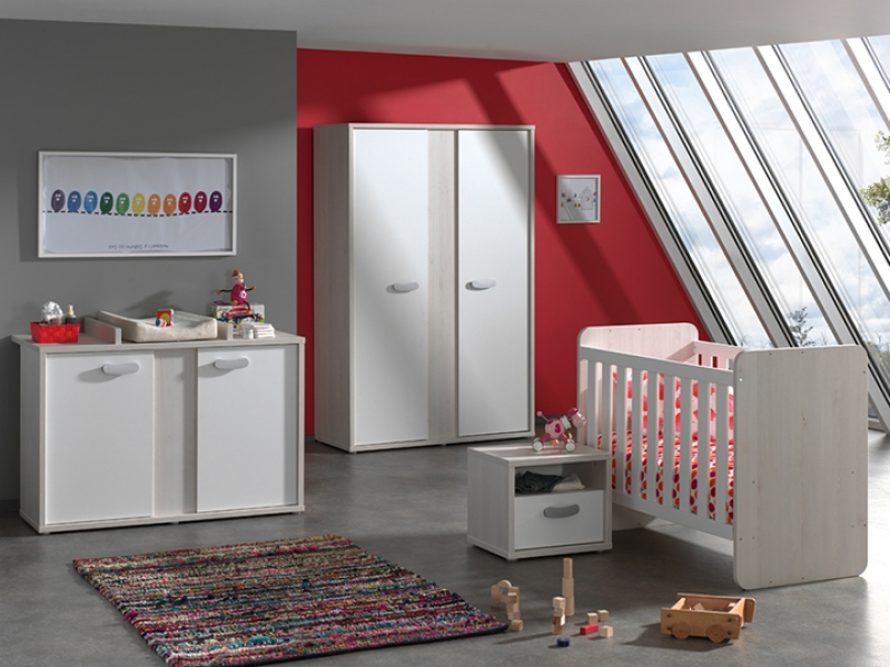 CHAMBRE SMILEY ARMOIRE 2P + COMMODE + PLAN A LANGER + LIT EVOLUTIF